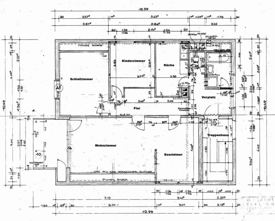 Sonnige und großzügige 3,5 Zimmerwohnung mit tollem Balkon (renovierungsbedürftig) - Grundriss