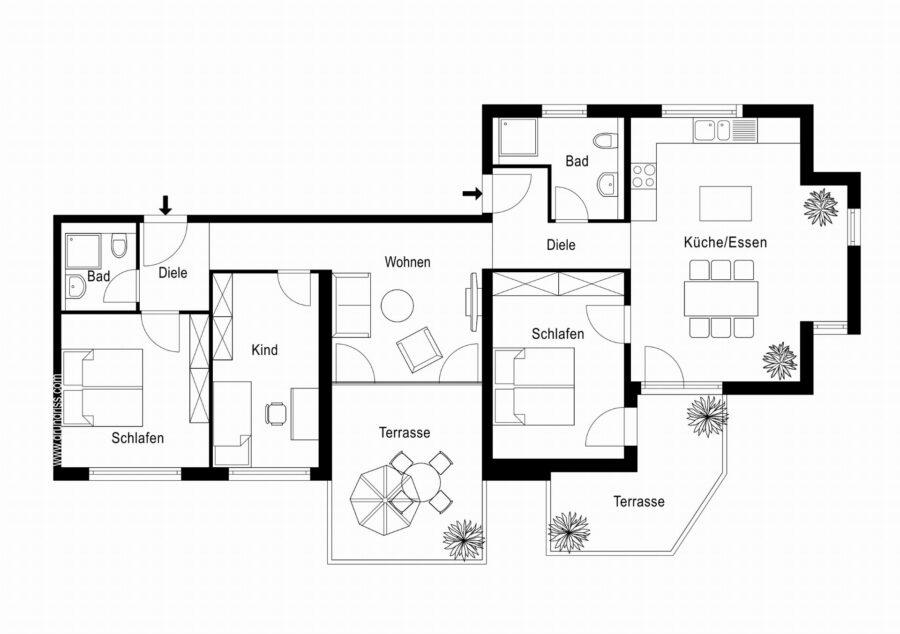 Barrierefreie 4,5 Zimmerwohnung mit großer Terrasse. - Grundriss