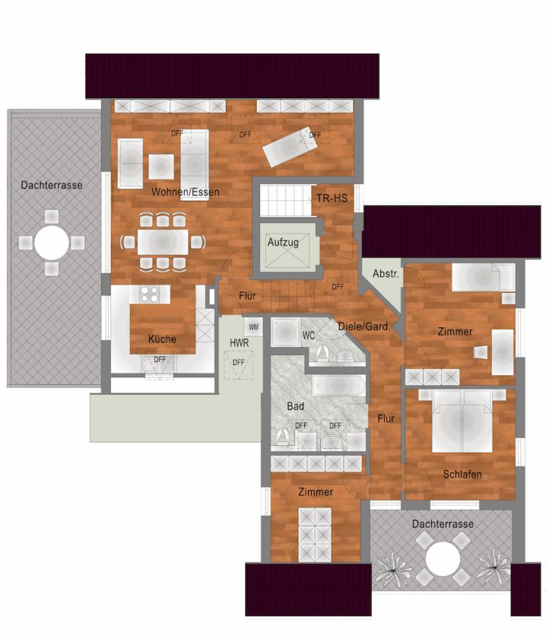 Luxus-Wohnung mit 2 großen Terrassen in traumhafter Lage von S-Sillenbuch - Grundriss