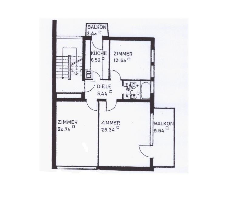 Sonnige 3-Zimmerwohnung in toller Lage - Grundriss