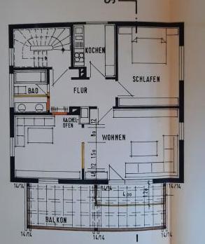 Traumhafte 2,5 Zimmerwohnung mit großem Balkon in idyllischer, stadtnaher Lage - Grundriss