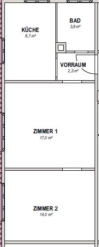 Möbliertes 2-Zimmer-Apartment an den Mineralbädern mit Einbauküche und Tageslichtbad - Grundriss