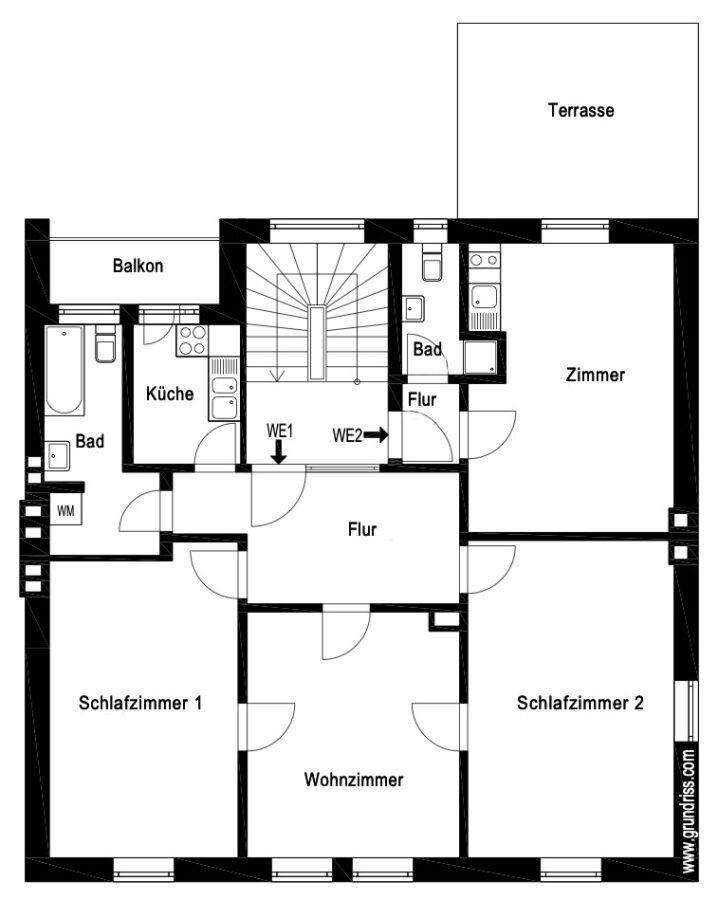 Großzügige Beletage-Altbauwohnung in zentraler Lage mit großer Terrasse - Grundriss