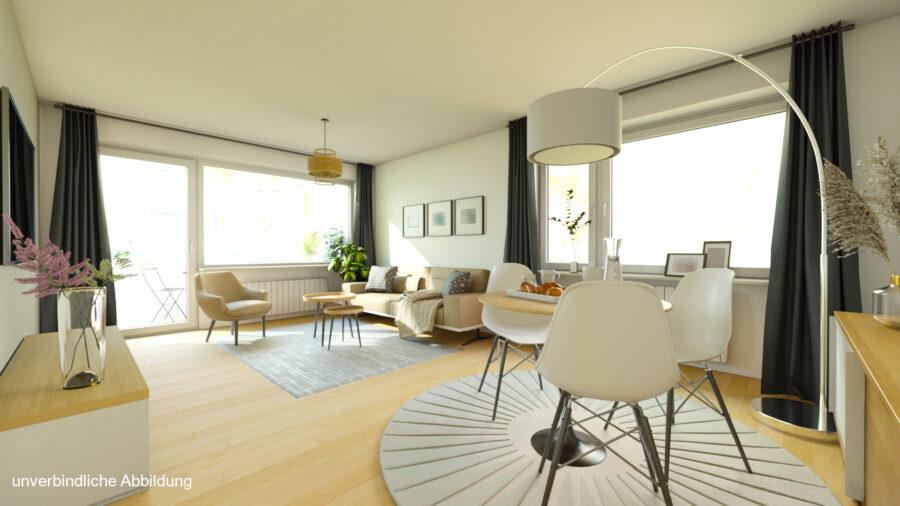 Großzügige 3-Zimmerwohnung mit Balkon (renovierungsbedürftig) - Wohnzimmer Beispiel