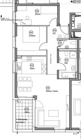 Neuwertige 3-Zimmerwohnung großer Terrasse und Einbauküche - Grundriss