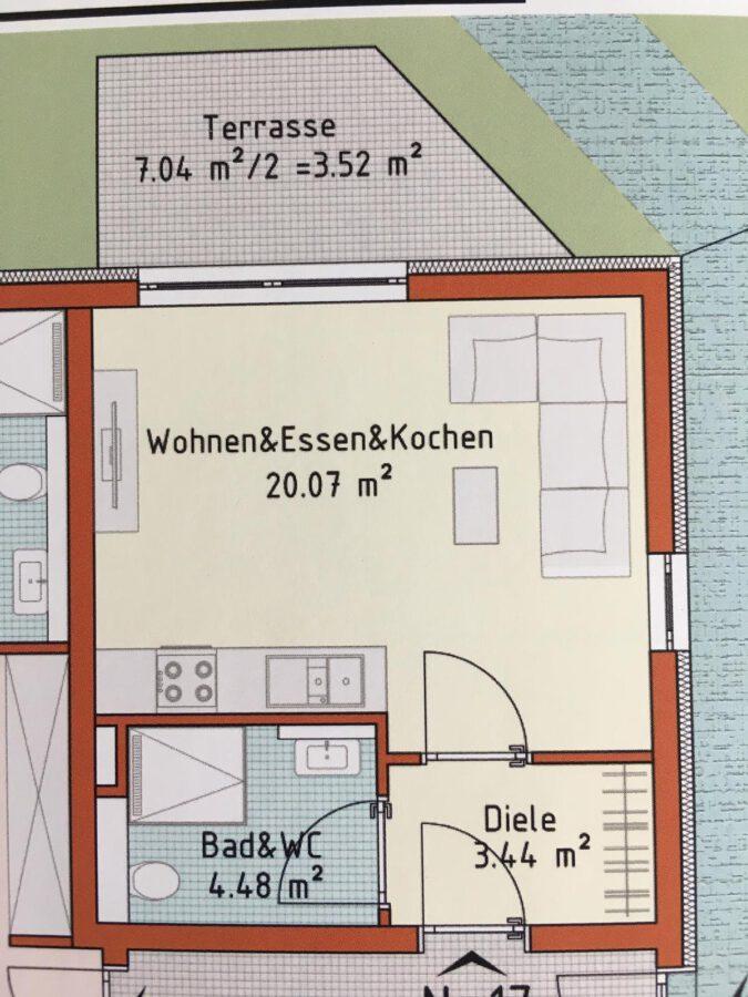 Erstbezug! Hochwertiges Apartment mit Terrasse und Küche - Grundriss