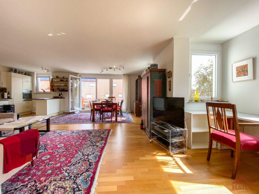 Hochwertige, barrierefreie Wohnung mit großem Balkon und EBK. - Wohnbereich