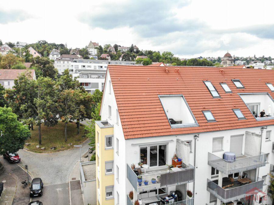 Hochwertige, barrierefreie Wohnung mit großem Balkon und EBK. - Sicht auf Balkon