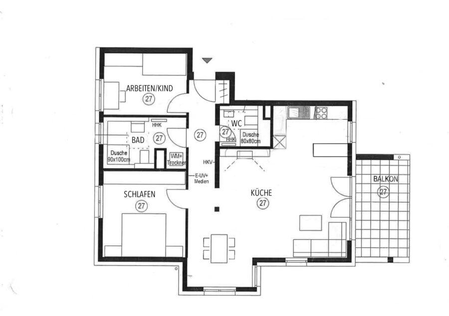 Hochwertige, barrierefreie Wohnung mit großem Balkon und EBK. - Grundriss